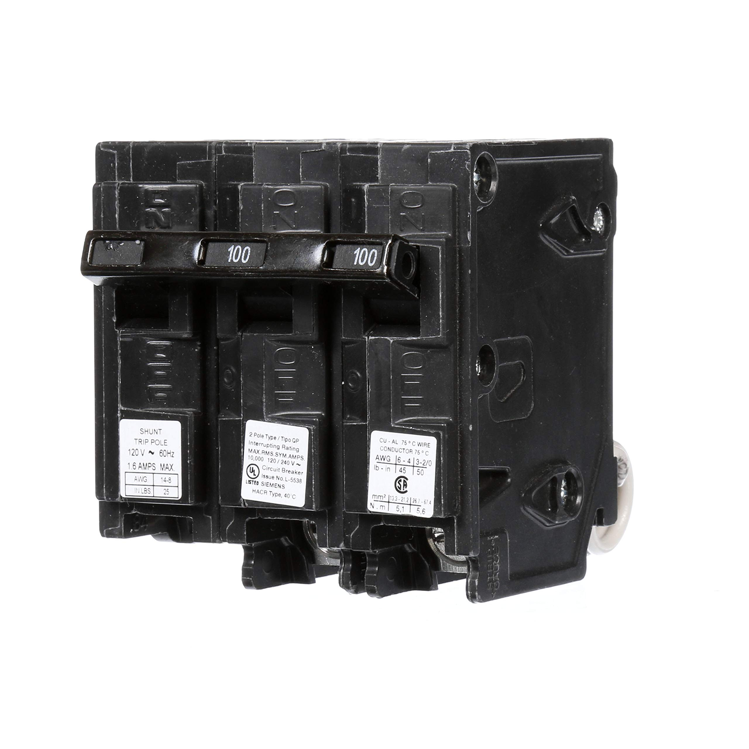 Siemens Q210000S01 120/240-Volt type MP-T 100-Amp Circuit Breaker with 120-Volt Shunt Trip Double pole