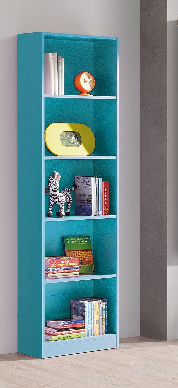 Libreria o estanteria azul para habitación infantil, juvenil o estudio, 180x52x25cm: Amazon.es: Hogar