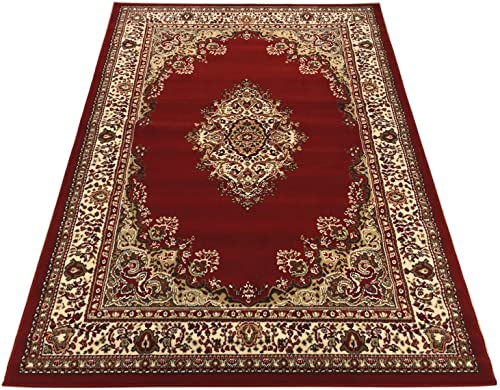 Medallion Traditional Oriental Persian Design Area Rug Rugs Red