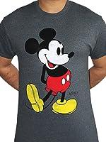 Mickey Mouse Kick Disney Classic Licensed Mens Grey T-shirt