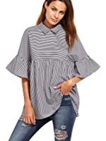 SheIn Women's Oversized Striped Ruffle Half Sleeve Collared Blouse