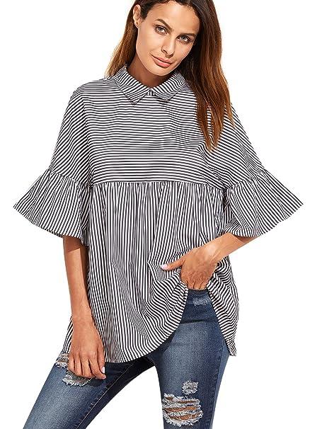 e141e0f3a9a SheIn Women s Oversized Striped Ruffle Half Sleeve Collared Blouse X-Small  Black