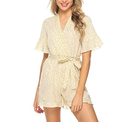Abollria Casual Romper Jumpsuit Shorts for Women Short Sleeve V Neck Floral Print Tie Waist Summer Beachwear: Clothing