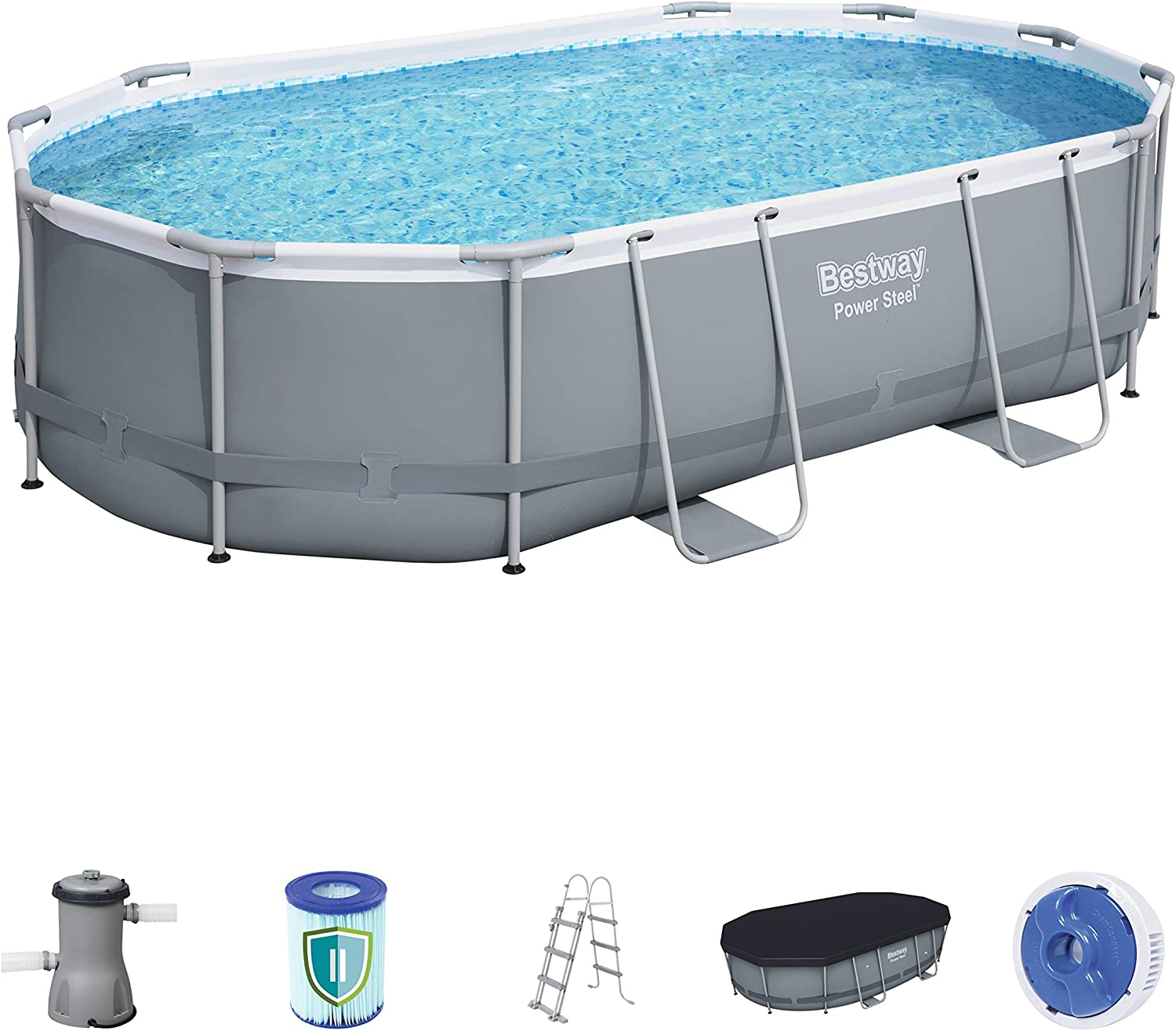 BESTWAY 56448 - Piscina Desmontable Tubular Power Steel Oval 488x305x107 cm Depuradora de cartucho de 3.028 litros/hora: Amazon.es: Jardín