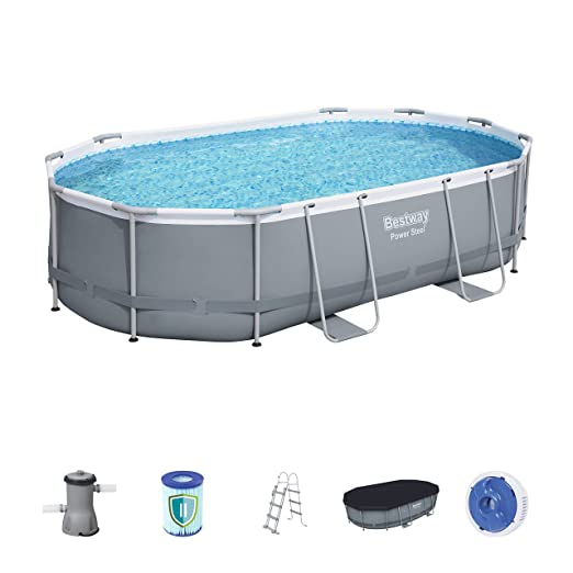 Bestway Power Steel Ovalado Frame Pool Set, Color Gris ...