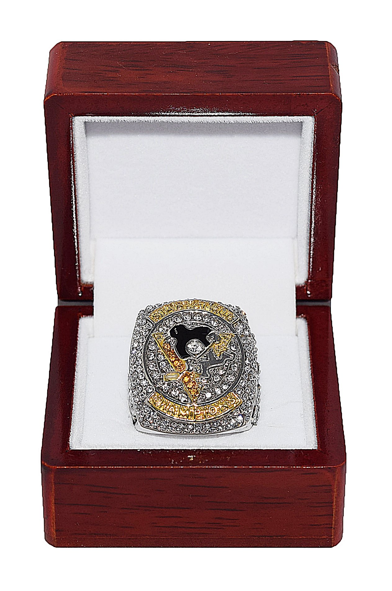 PITTSBURGH PENGUINS (Sidney Crosby) 2016 STANLEY CUP FINALS WORLD CHAMPIONS (4X Champs) Rare & Collectible High Quality Replica NHL Hockey Gold Championship Ring with Cherrywood Display Box