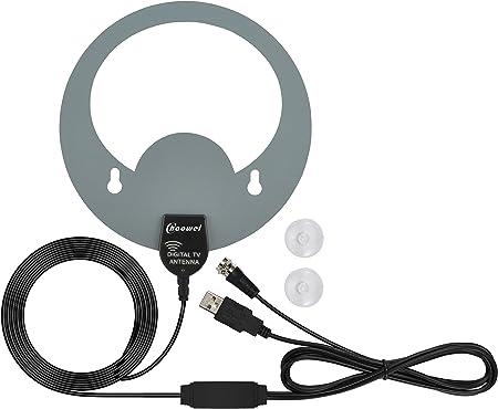 Antena de TV para interiores Chaowei HDTV, antena de 50 millas con amplificador en línea, señal de placa de circuito dual mejorada, fuente de ...