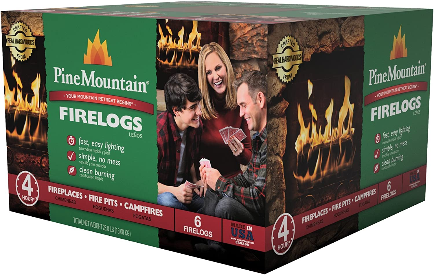 Indoor /& Outdoor Use Pine Mountain Traditional 4-Hour Firelog 6 Logs Long Burning Firelog for Campfire Fireplace Fire Pit