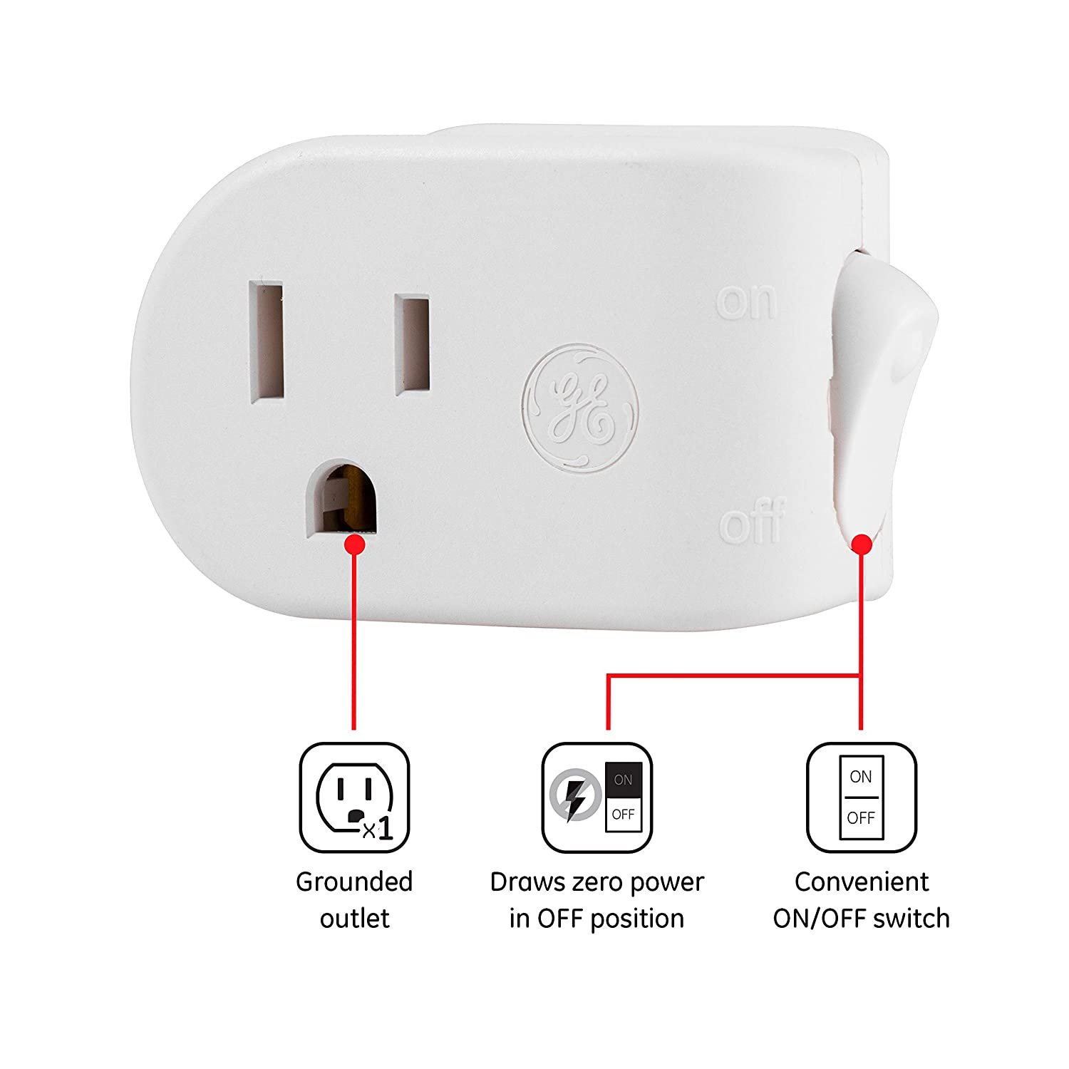 UL Listed Space Saving Design Energy Efficient 120VAC 1800W 25511 GE Grounded On//Off Power Switch Plug-In White 15A