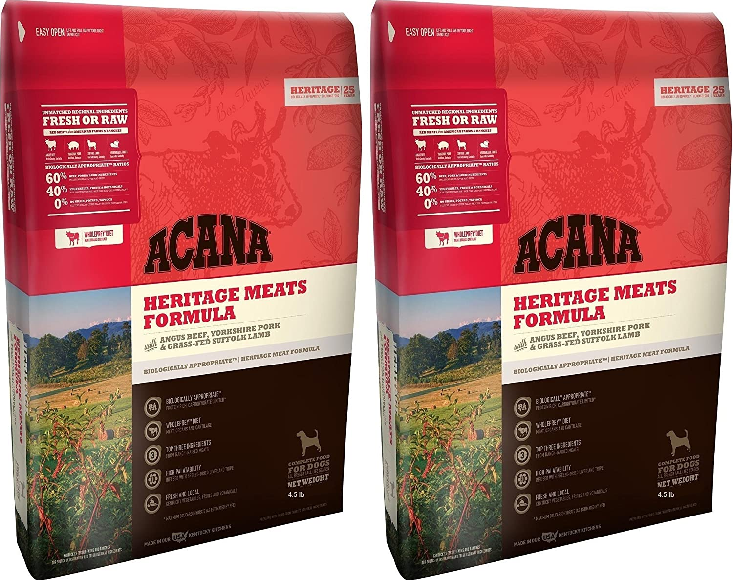 ACANA Heritage Meats Dog Food, 4.5 Pound Bag (2 Pack)