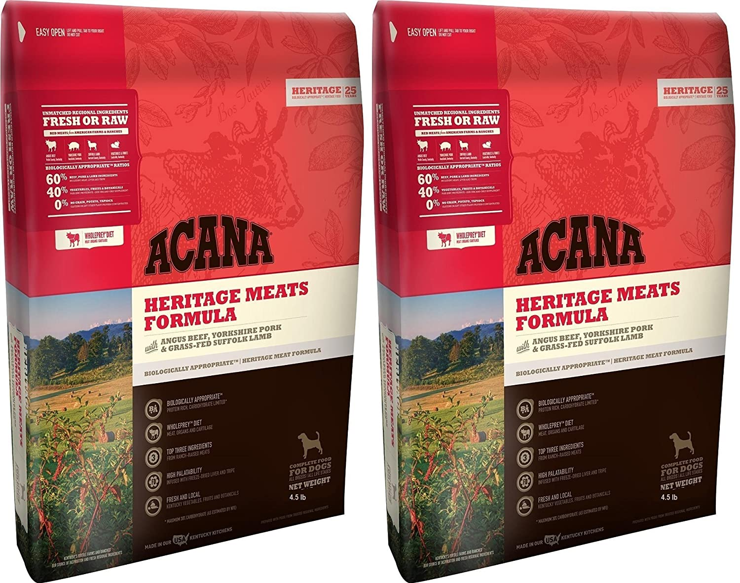 ACANA Heritage Meats Dog Food, 4.5 Pound Bag 2 Pack