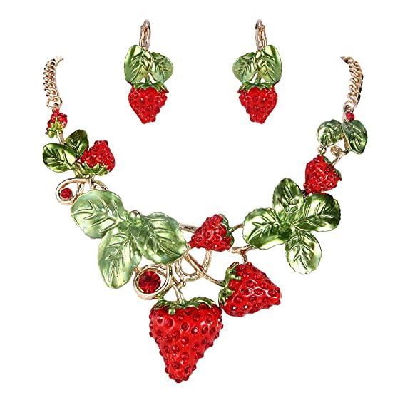 Retro Tiki Dress – Tropical, Hawaiian Dresses EVER FAITH Womens Austrian Crystal Sweet Strawberry Leaf Necklace Earrings Set $35.99 AT vintagedancer.com