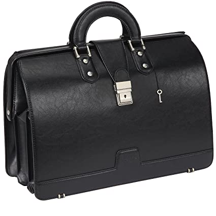 51800df067c4 Ronts Mens PU Leather Briefcase Lawyer Attache Case with Lock Business  Handbags Doctor Bag Medical Bag 15.6 Inch Laptop Bag Attorney Bag Black
