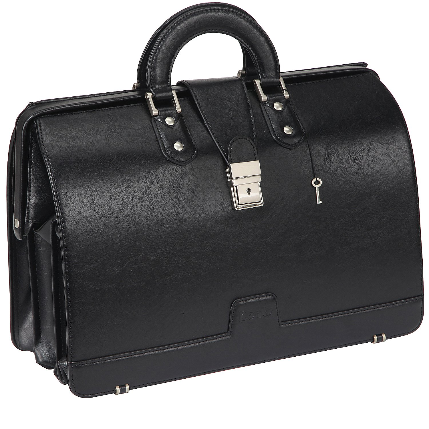 Ronts Mens PU Leather Briefcase Lawyer Attache Case with Lock 15.6 Inch Laptop Business Bag, Black