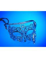 Beautiful Elegant Venetian Style Black Metal Laser Cut Masquerade Mask