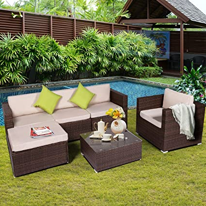 U-MAX 6 Pieces Patio PE Rattan Wicker Sofa Set Outdoor Sectional Furniture Conversation Chair Set with Ottoman Cushions and Tea Table Brown