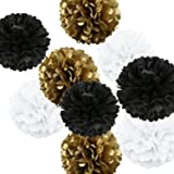 Fonder Mols 9pcs Mixed Sizes 8'' 10'' 14'' Metallic Gold Black White Tissue Paper Pom Poms Decorative Graduation Party Hanging Decor Favor