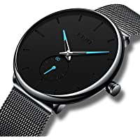 CIVO Mens Black Ultra Thin Watch Minimalist Fashion Luxury Wrist Watches for Men Business Dress Waterproof Casual Quartz Watch for Man with Stainless Steel Mesh Band Sub Dial
