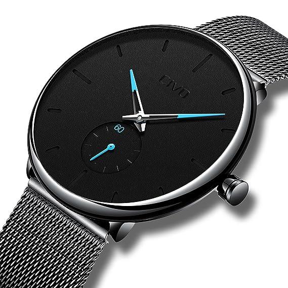 CIVO Reloj Negro Ultra Fino para Hombre Minimalista Lujo Moda Relojes de  Pulsera para Hombres Vestir 5c2dc12ee055