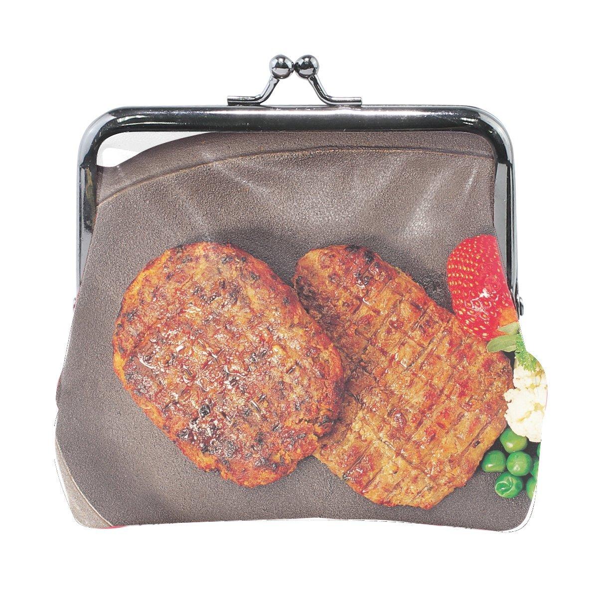 Women Chops Meat Fried Foods Vegetables Print Wallet Exquisite Clasp Coin Purse Girls Clutch Handbag