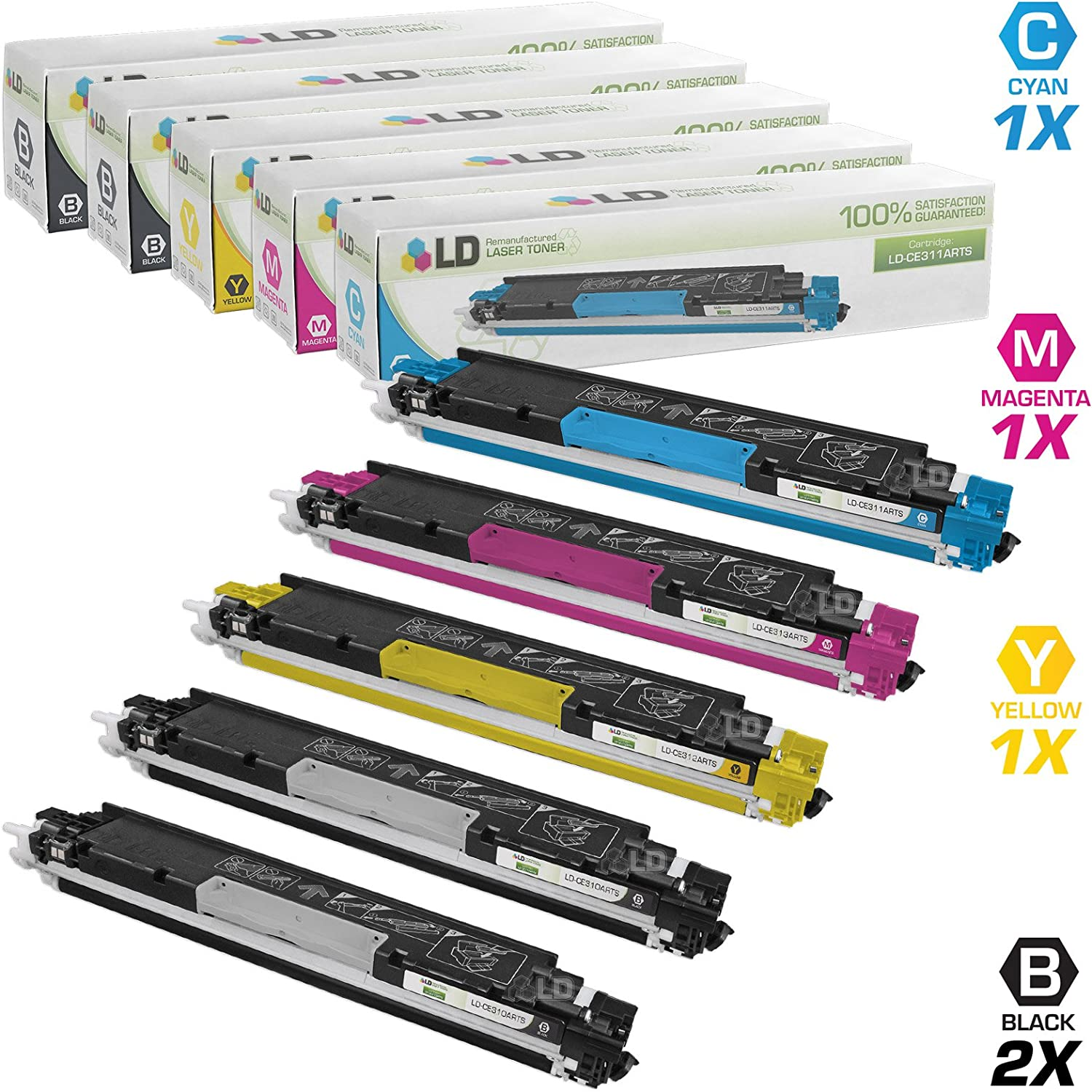 LD Remanufactured Toner Cartridge Replacement for HP 126A (2 Black, 1 Cyan, 1 Magenta, 1 Yellow, 5-Pack)