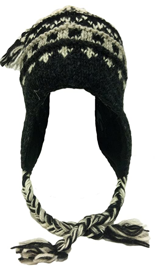 Amazon.com   Nepal Hand Knit Sherpa Hat with Ear Flaps d7513a0b1dd