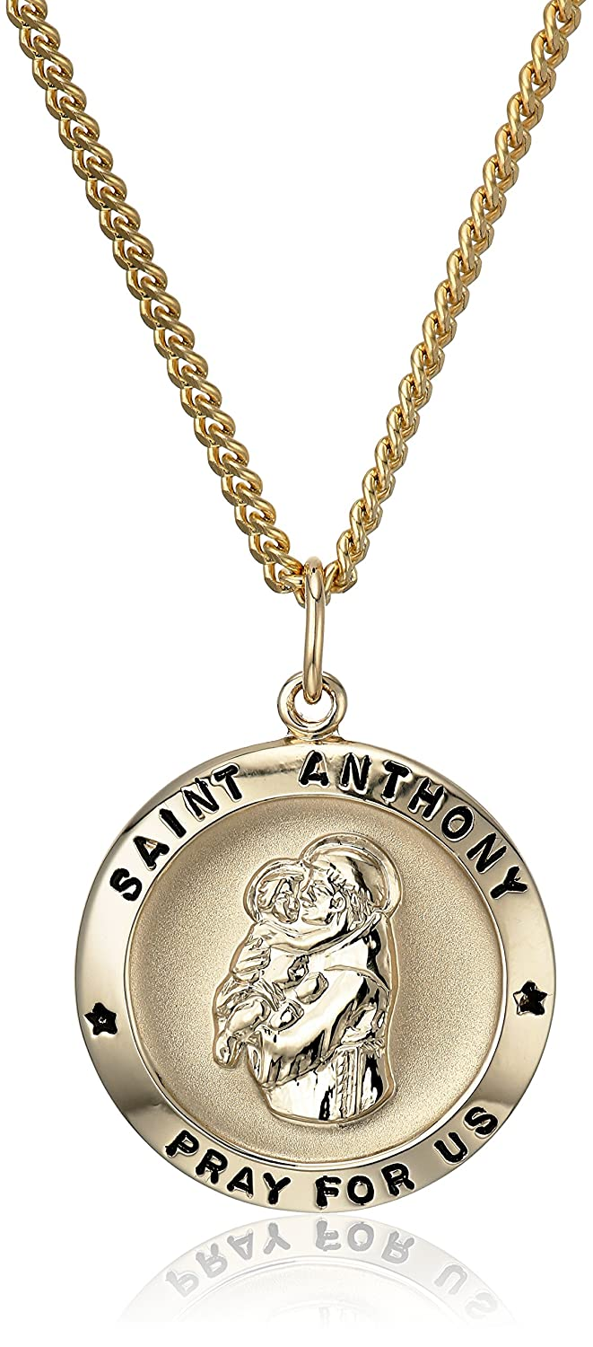 14k Gold-Filled Round Saint Anthony Pendant Necklace with Stainless Steel Chain, 20""