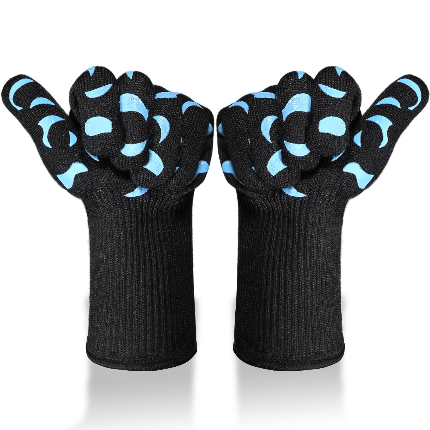 Tidinesslife Revolutionary 932°F Extreme Heat Resistant Certified Gloves - Thick but Light-Weight & Extra Long Blue