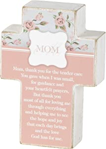 Dicksons Mom Thank You Cross Floral Pink 4 x 3 MDF Wood Collectible Tabletop Figurine