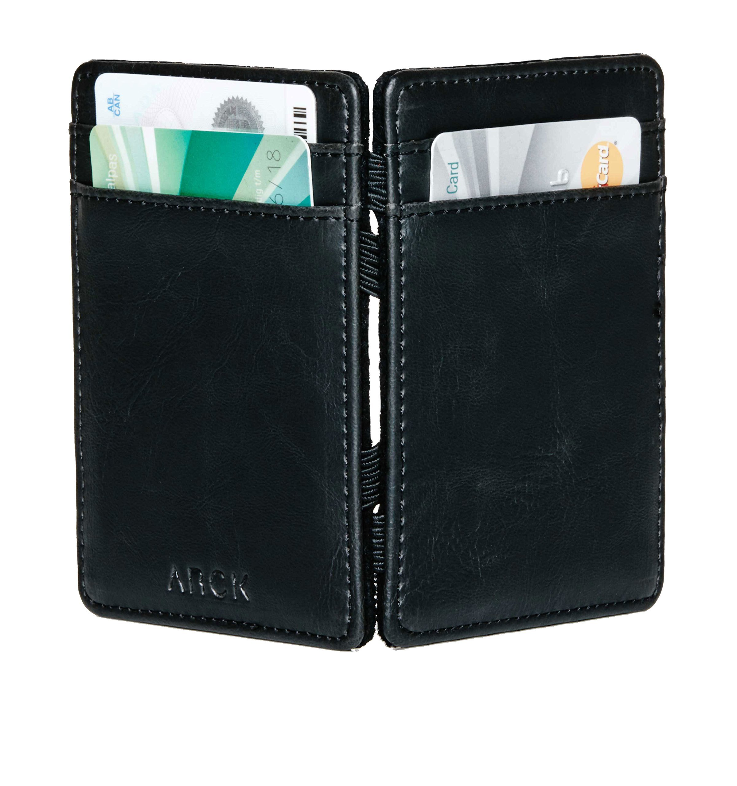 ARCK Ultra Slim Magic Wallet for Men and Women, Handmade Thin Leather Card Wallet, Incl. RFID Protection (Black) - Great Gift Idea