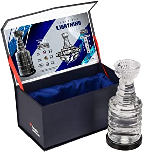 Tampa Bay Lightning 2020 Stanley Cup Champions Crystal Stanley Cup - Filled with Ice From the 2020 Stanley Cup Final - NHL Game Used Ice Collages