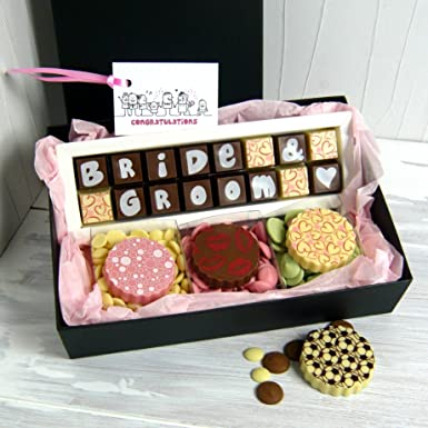 Chocolate Gift Box For Bride Groom For Wedding In Milk White