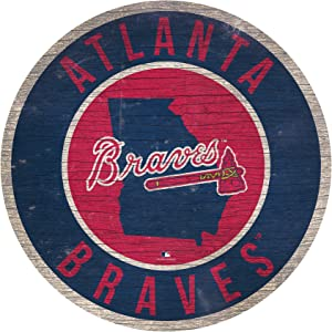 "Fan Creations MLB Atlanta Braves 12"" Circle with State and Team Logo Wood Sign"
