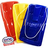 """Matty's Toy Stop 26"""" Heavy Duty Plastic Snow Sled Toboggan with Tow Rope for Kids Red, Yellow & Blue Gift Set Bundle - 3 Pack"""