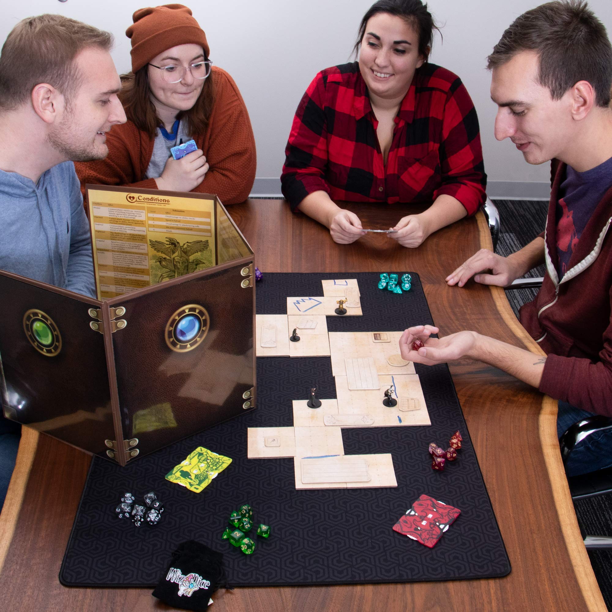 Dungeon Master Essentials: Roleplaying Starter Kit | Customizable GM Screen, 44 Reversible Map Tiles, 5 Character Health Trackers, 5 Polyhedral Dice Sets | Tabletop Fantasy Game Beginner Accessories by Stratagem (Image #6)