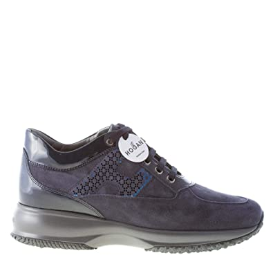 Hogan Donna Interactive Sneaker in camoscio e Vernice Blu Denim con H  Laminata  Amazon.it  Scarpe e borse e00c5f9ea98
