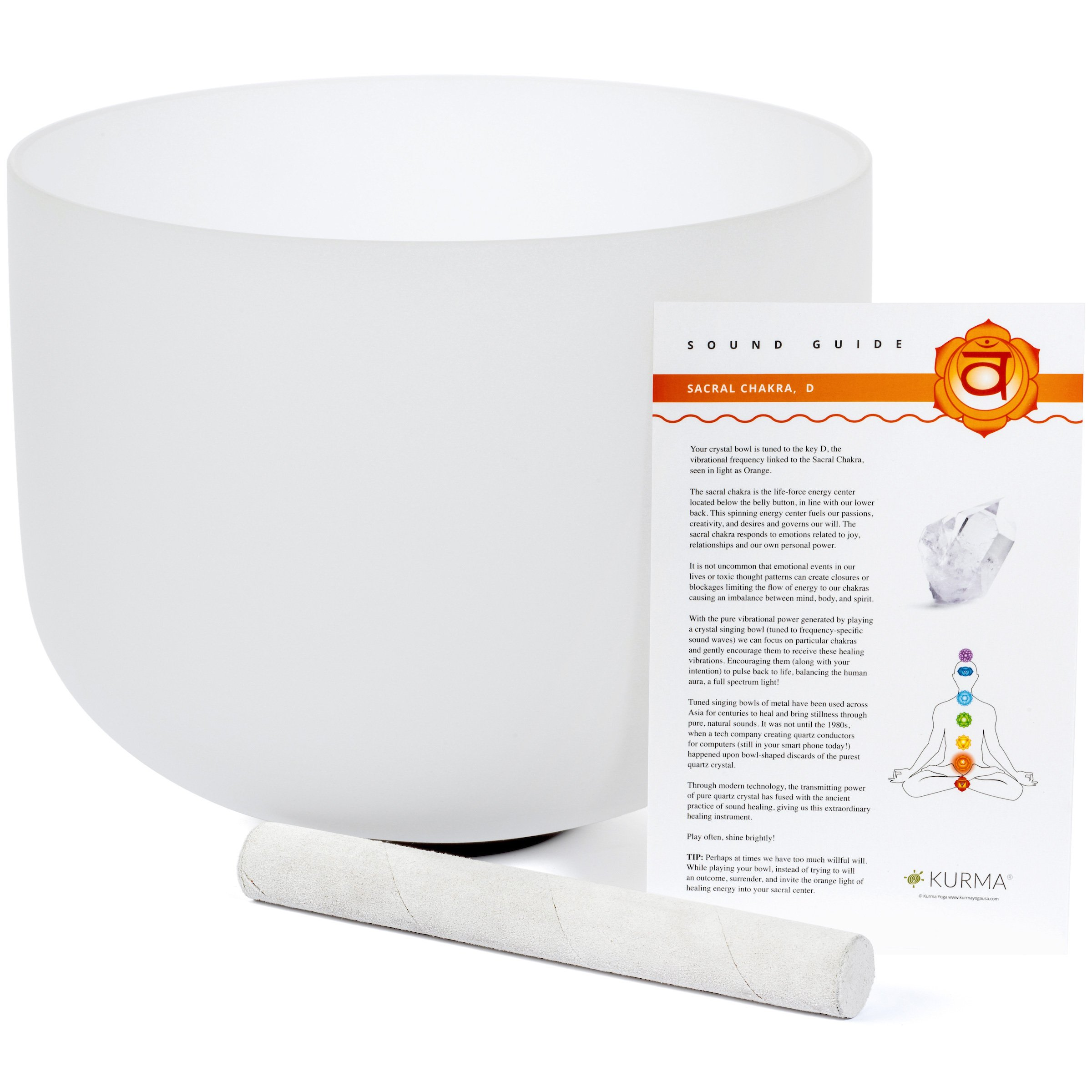 Sacral Chakra Crystal Singing Bowl D Note, Mallet Included, Sound (12 inch)
