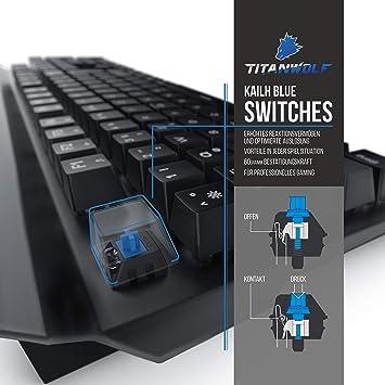 TITANWOLF Juego de teclado de rendimiento retroiluminado LED con ratón para juegos MMO de 10000PPP y soporte para cable de ratón y 19 modos de luz ...