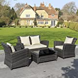 Goplus 4 PCS Brown Wicker Cushioned Rattan Patio Set Garden Lawn Sofa Furniture Seat
