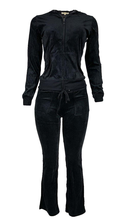 Women's Lightweight Hoodie & Sweatpants Velour Suit 2 Piece Loungewear Set (S-3XL) XX-Large Black