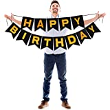 Black Banner with Gold Happy Birthday Letters Sparkling Glitter Garland for Dramatic Photo Booth Backdrop Picture Hanging Felt Cardstock Party Decorations