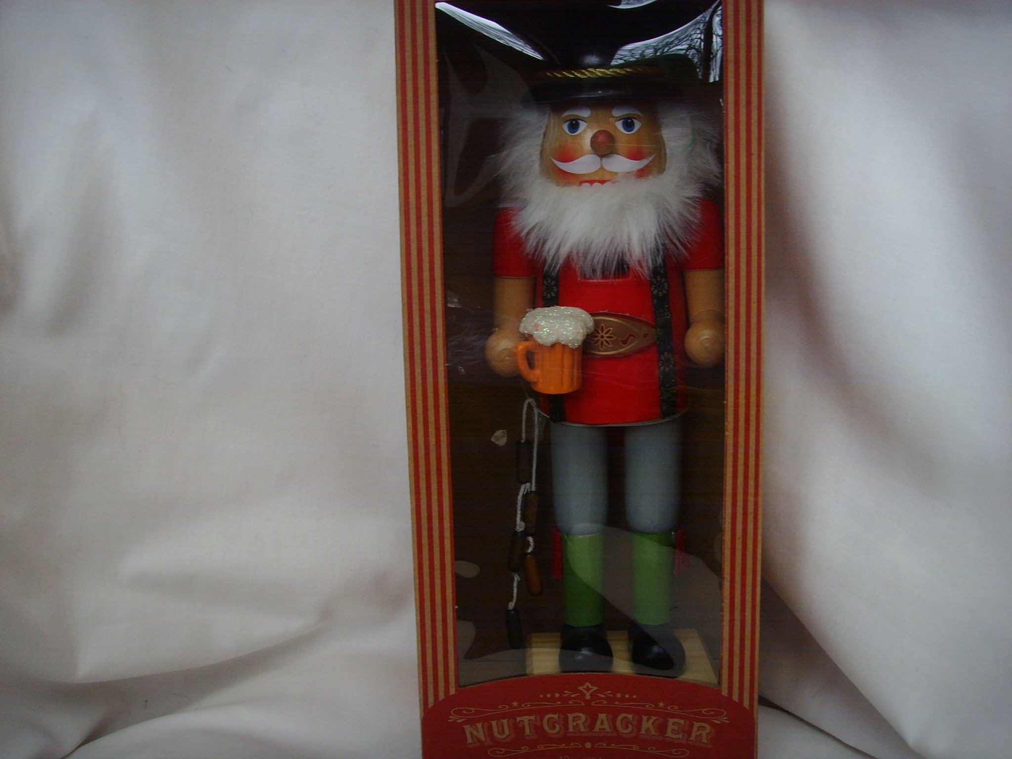 German Wooden Nutcracker 12'' Collectible ; with Beer & Wurst