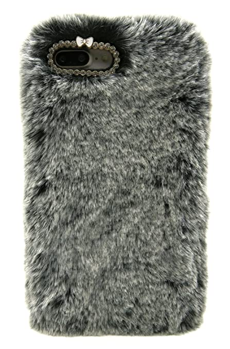 brand new af6f0 0f124 Furry Case for iPhone 7 Plus Black, Furry Case for iPhone 8 Plus Black,  Winter Fashion Faux Bunny Fur Fluffy Case for iPhone 7 Plus & iPhone 8 Plus  ...