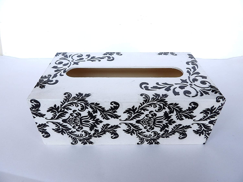 Caja de Pañuelos, Blanco y Negro, Portatoallitas Faciales, Caja de Madera Rectangular, Dispensador de Papel, Servilletas, Toallitas 25 x13 x 8 centìmetros: Amazon.es: Handmade
