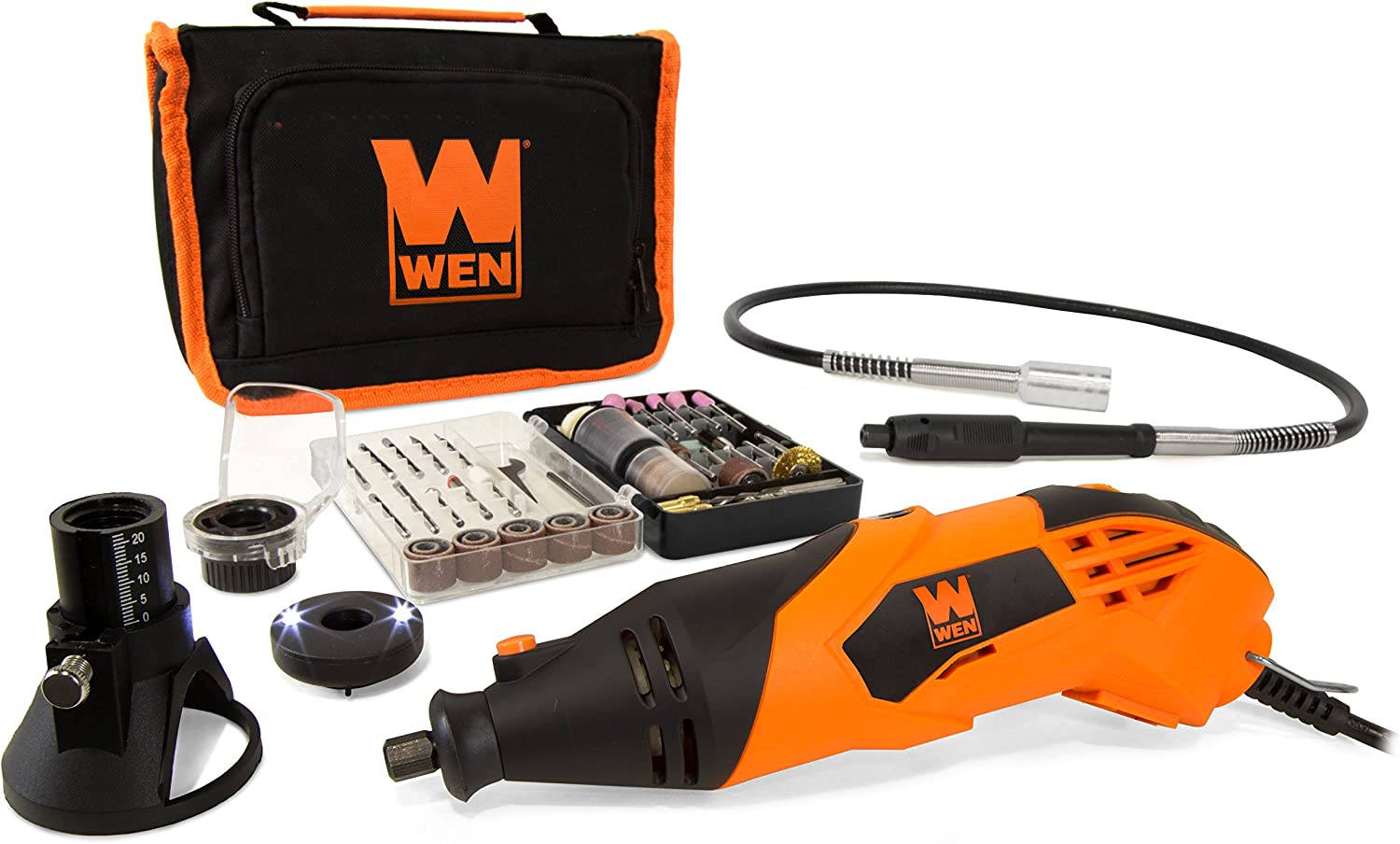 WEN 23114 1.4-Amp High-Powered Variable Speed Rotary Tool with Cutting Guide, LED Collar, 100 Accessories, Carrying Case and Flex Shaft