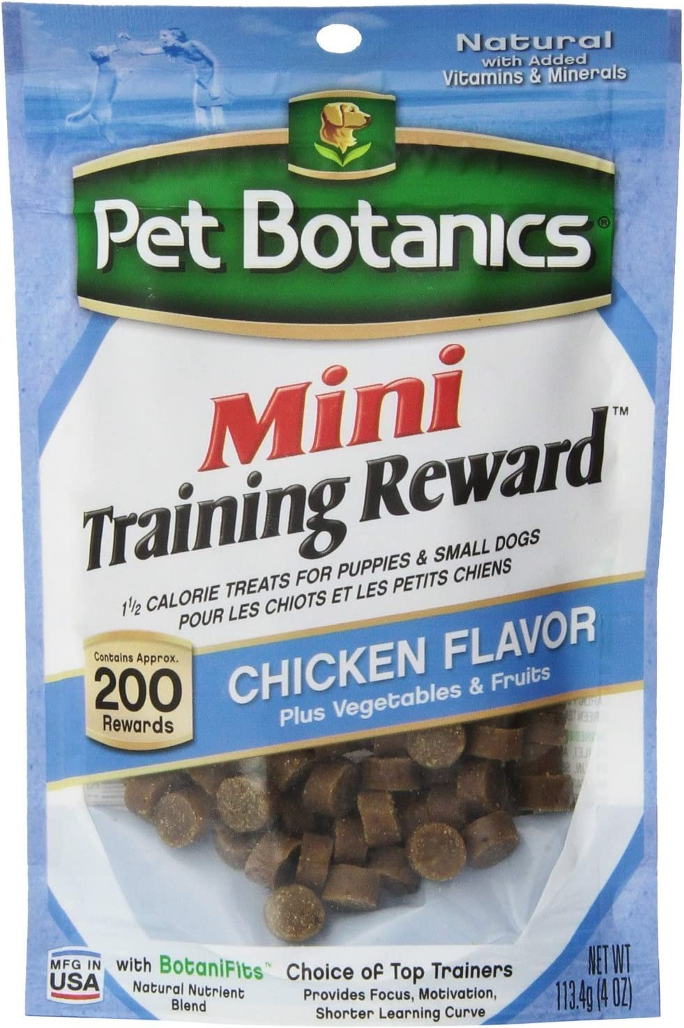 Pet Botanics Mini Training Rewards for Dogs 3 Flavor Variety Bundle: (1) Bacon, (1) Chicken and (1) Beef, 4 Oz Ea (200 Count per Bag, 3 Bags Total)