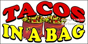 """Decal Tacos in a Bag for Food Concession Restaurant Truck Exterior Vinyl Sticker Sign (18"""" x 9"""")"""