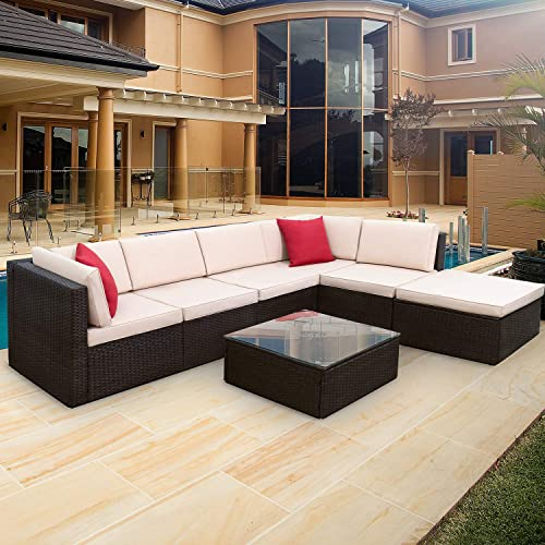 Furniwell 7 Pieces Patio Outdoor Furniture Sets, All Weather Modern Sectional PE Rattan Manual Wicker Conversation Set with Cushions and Glass Table for Lawn, Backyard, Poolside Brown