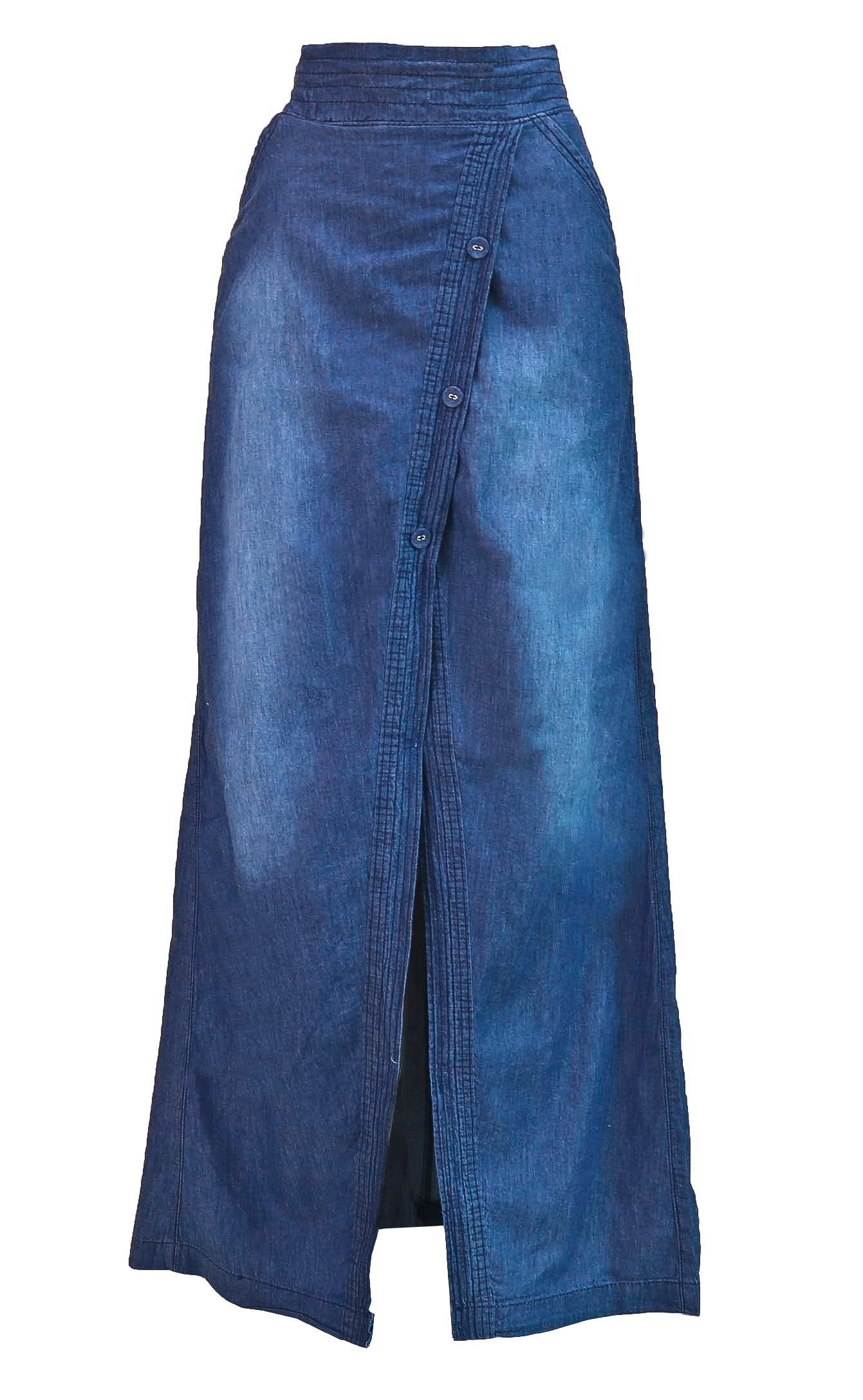 Fashion2Love Women's Juniors Long Light Denim Slit Maxi Skirt in Washed Blue Size M