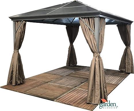 Cenador de jardín Swanbourne con techo de policarbonato ahumado ...